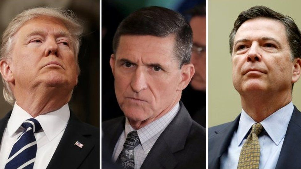 US President Donald Trump (L), former National Security Advisor Michael Flynn (C) and former FBI Director James Comey (F).