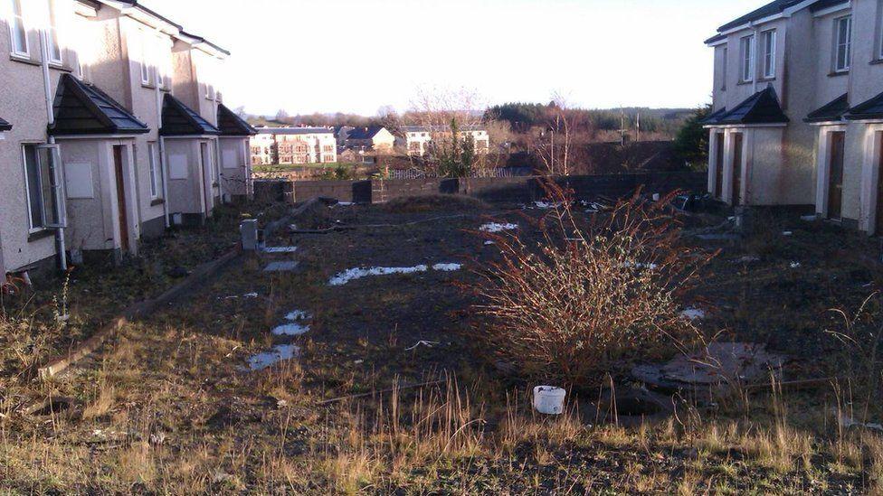 Unfinished houses in Carraig Abhainn, Ballysadare, County Sligo, before demolition