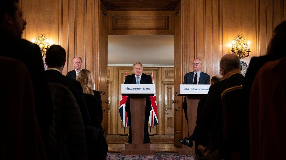 The UK's chief medical officer Professor Chris Whitty, Prime Minister Boris Johnson and chief scientific adviser Patrick Vallance at the daily coronavirus news conference