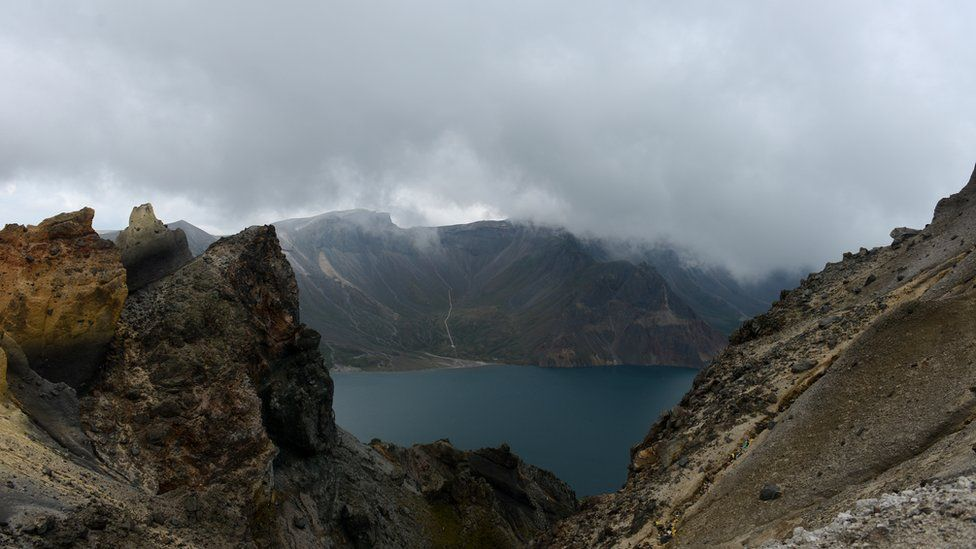 A general view of the mountain peak, known as Changbai in Chinese and Paektu in Korean, straddling China and North Korea