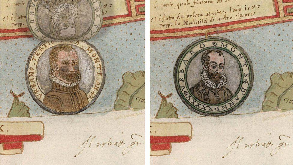 El retrato del autor no puede faltar. (el de 1587 a la izquierda; el de 1589 a la derecha). (Foto gentileza de David Rumsey Map Collection).