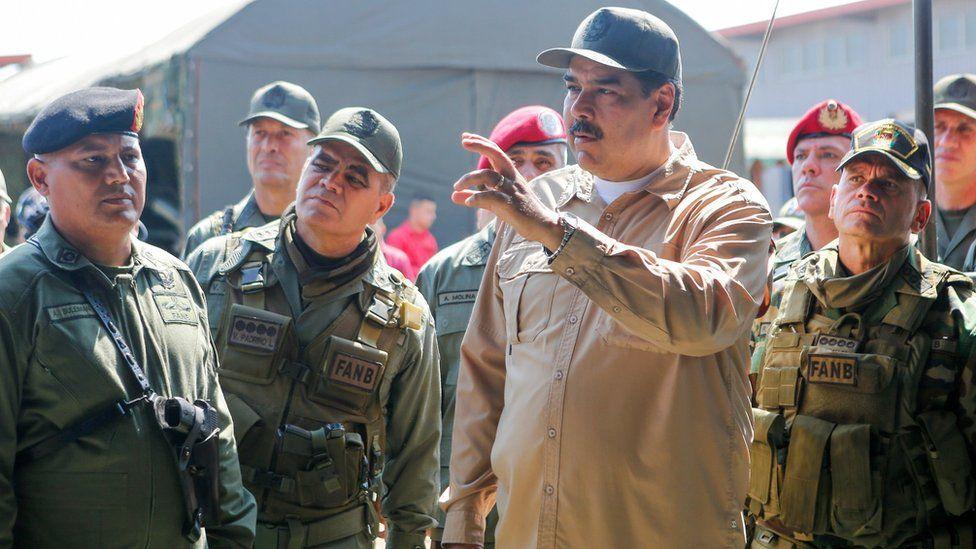 A photo from the Miraflores Press, shows Venezuelan President Nicolas Maduro leading a military exercise, in Caracas, Venezuela, 27 January 2019