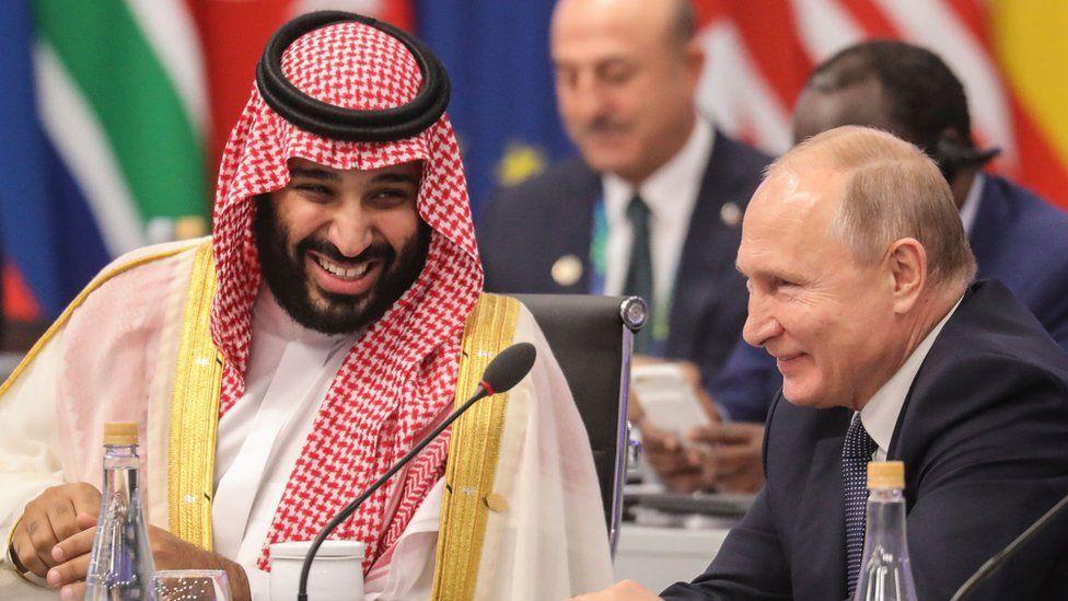 Saudi Arabia's Crown Prince Mohammed bin Salman and Russian President Vladimir Putin