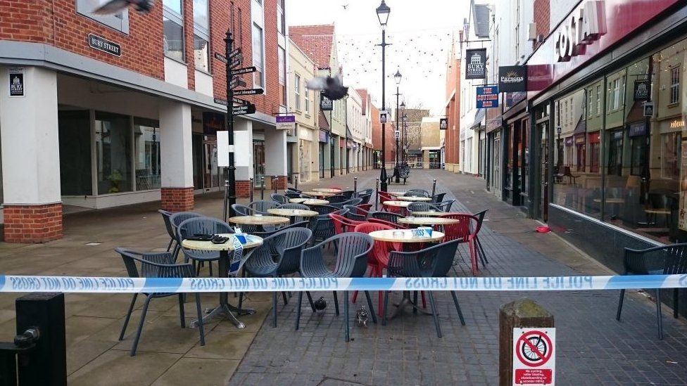 Parts of the town centre cordoned off