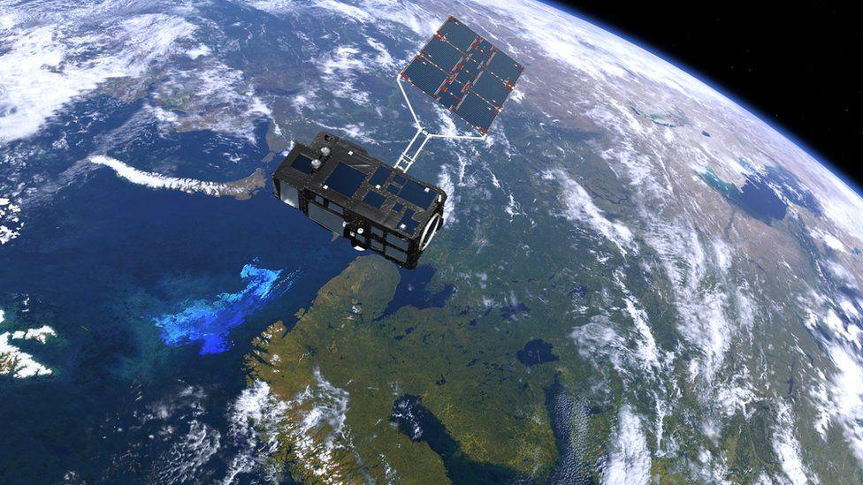 Sentinel satellite in space looking down on earth