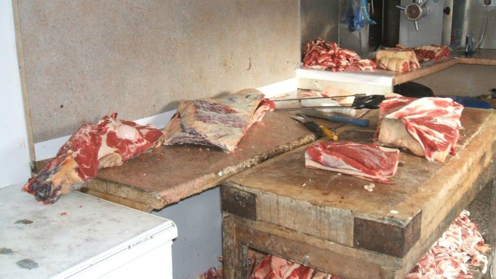 Meat at Broom's slaughterhouse