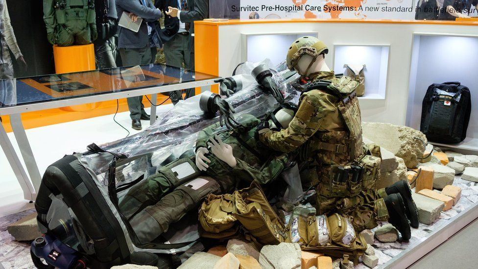 A portable emergency medical station was among the displays at the DSEI fair