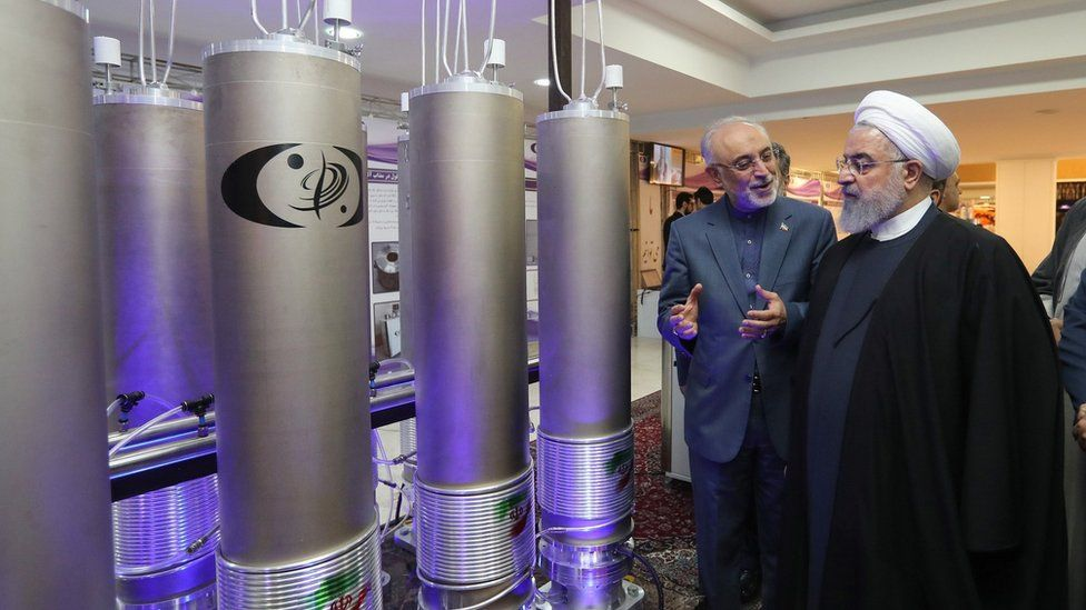 Iranian President Hassan Rouhani (3rd Left) is shown nuclear technology in Tehran, Iran (9 April 2019)