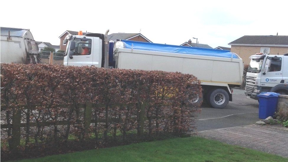 Construction traffic in Llay, near Wrexham