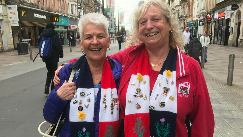 Friends Valerie Barbour, from Edinburgh (left) and Lorraine Daye, from Tonyrefail, have been meeting up for Six Nations games since the 1970s