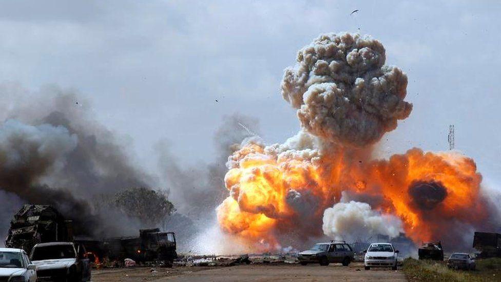 Explosion in Nato air attack in Libya