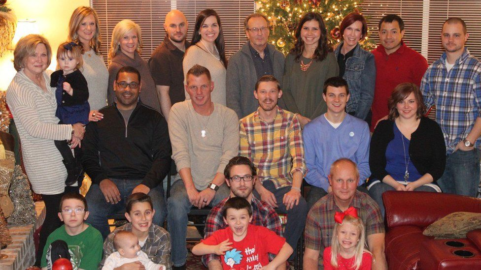 Ruth is seen with her family in a Christmas photograph from 2016 or 2017