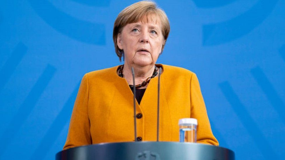 Chancellor Merkel giving statement on Easter U-turn, 24 Mar 21
