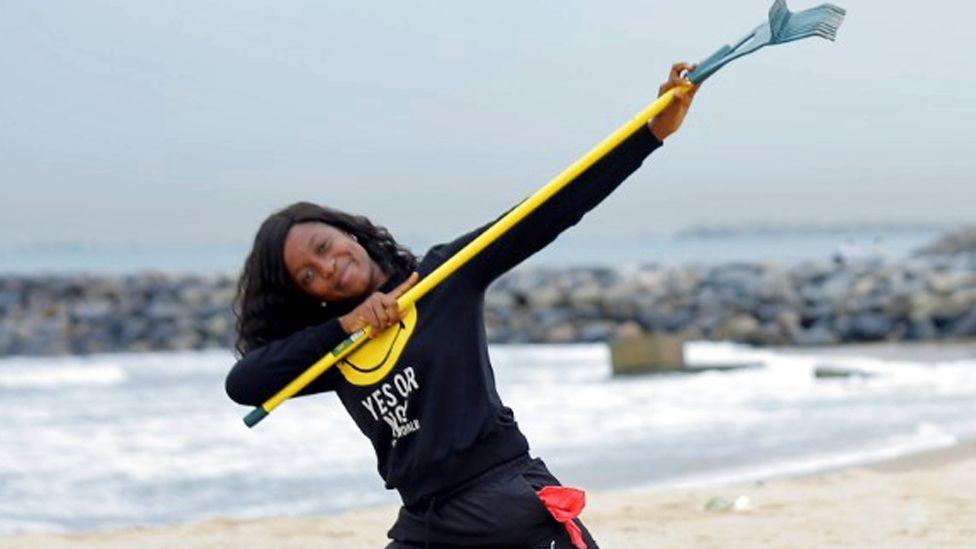 Doyinsola Ogunye on a beach in Lagos, Nigeria