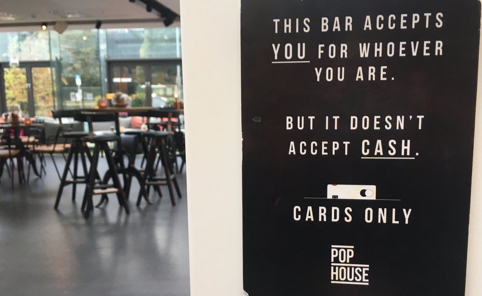 Cards only sign in Sweden's Pop House