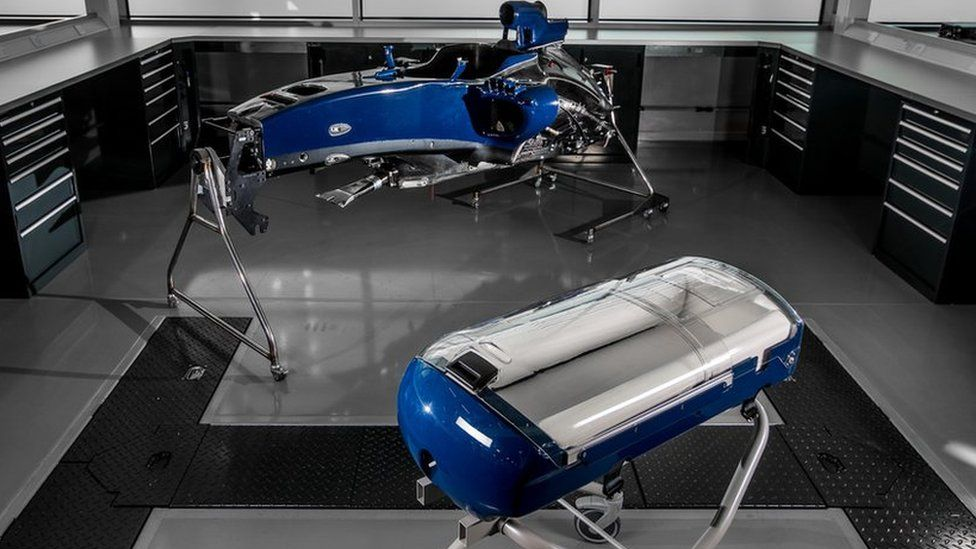 The Williams Babypod 20 infant carrier (foreground) and F1 car body shell (background)