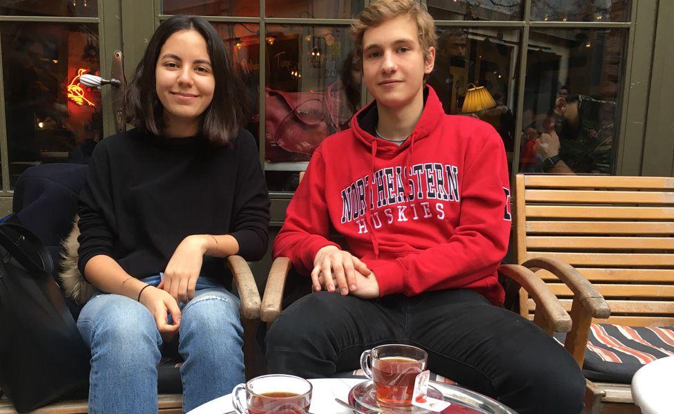 Students Idil Cakmur (L) and Arda Hurbas