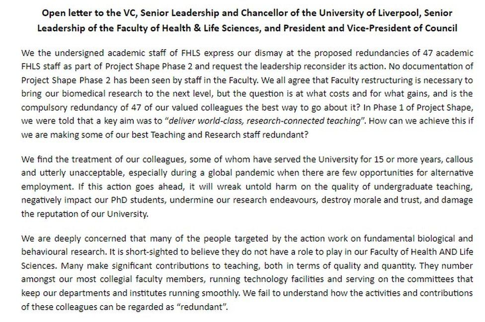 Letter signed by more than 200 academics
