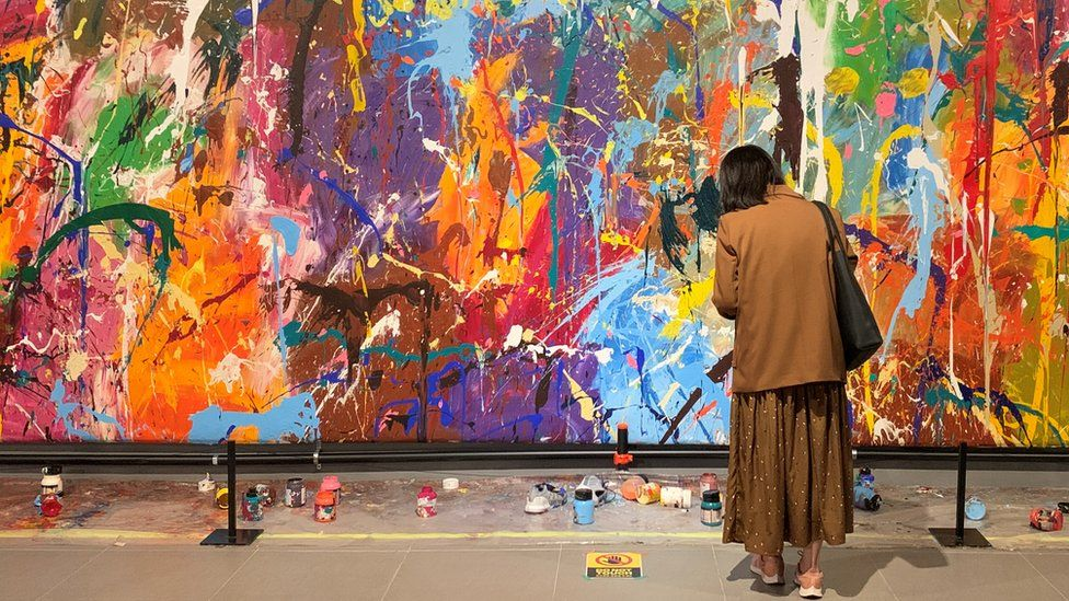 Graffiti artwork by JonOne that was damaged by a couple at a gallery in Seoul, South Korea, 2 April 2021