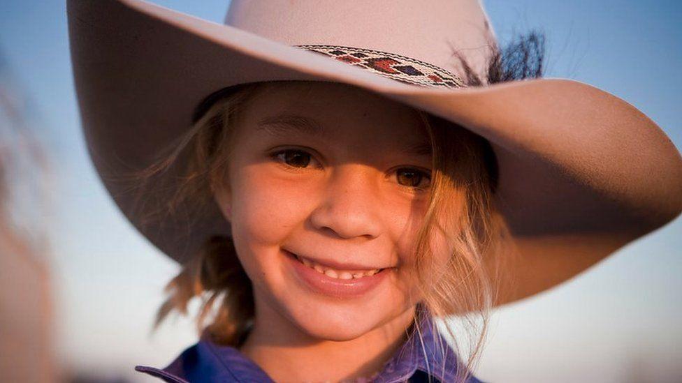 """""""Dolly"""" Amy Everett wearing an Akubra hat"""