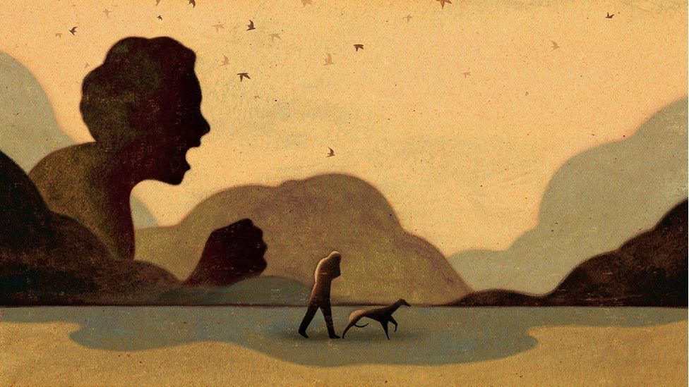 Illustration showing a child in silhouette screaming, as an adult walks past with a dog