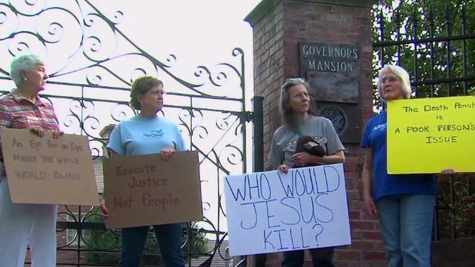 Protesters have gathered outside the governor's mansion for the last three weeks