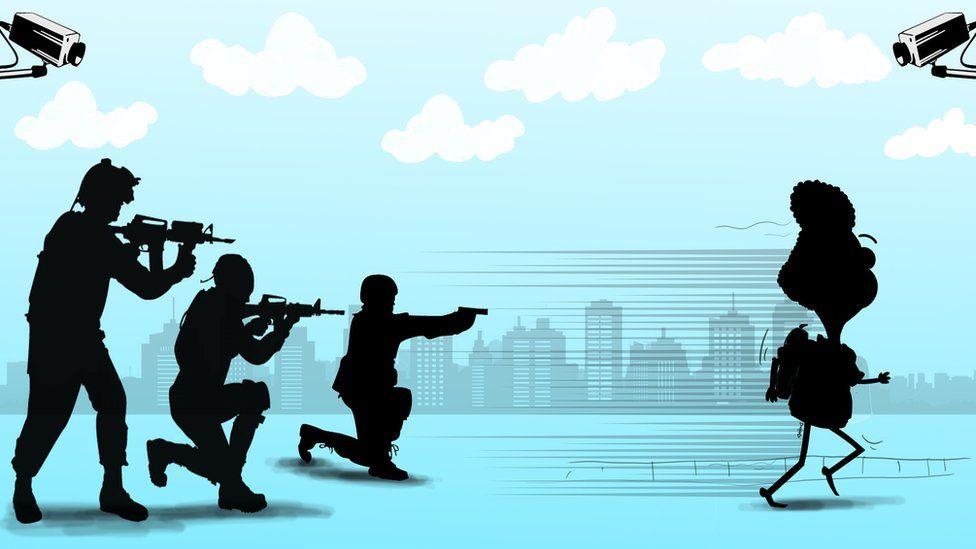 Cartoon showing Ali Dorani fleeing Iran
