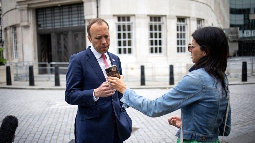 Matt Hancock with Gina Coladangelo outside BBC