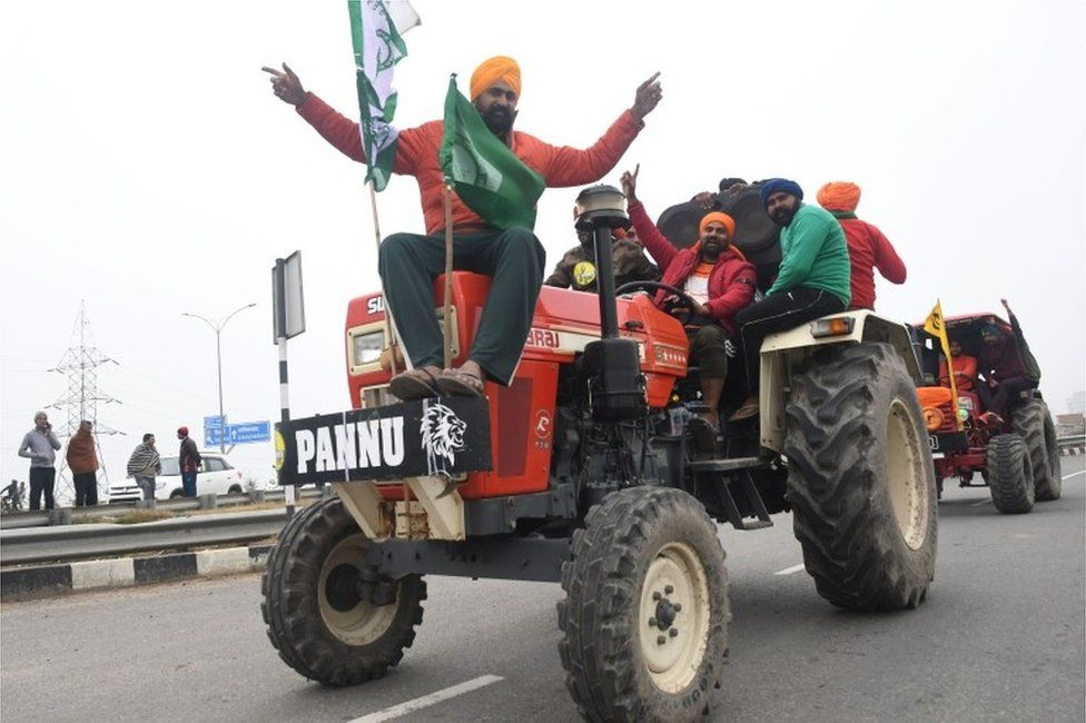 "Indian farmers participate in the tractor rally to protest against the government""s new agricultural laws at the Kundli Manesar Palwal (KMP) Expressway at Kundli, Haryana state, India, 07 January 2021."