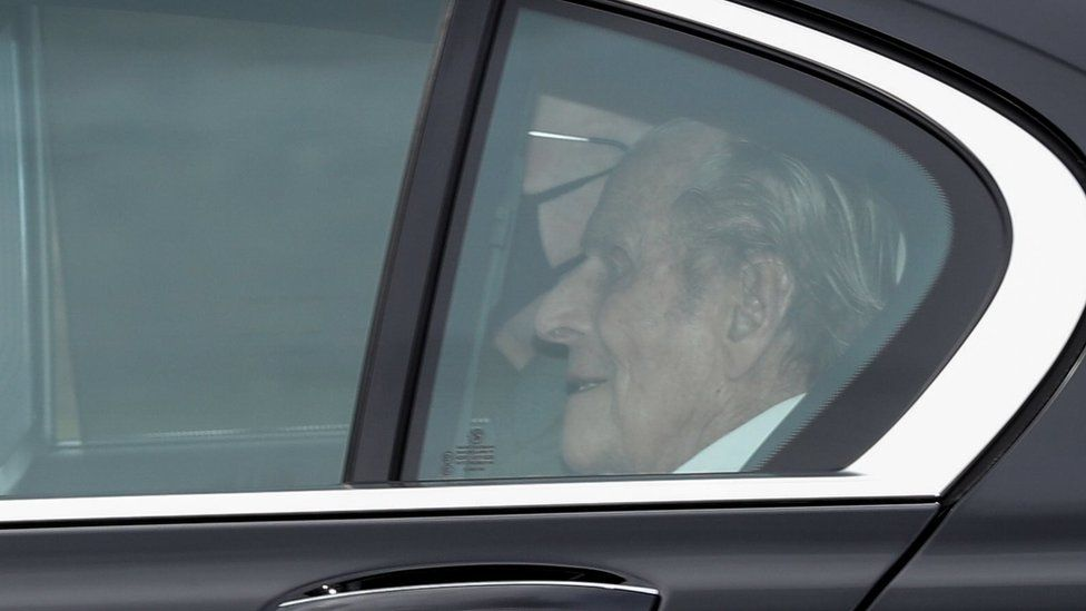Prince Philip arrives back at Windsor Castle on Tuesday