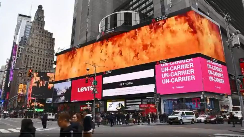 A Times Square billboard shows the thank-you message to firefighters and the world for support in Australia's fires