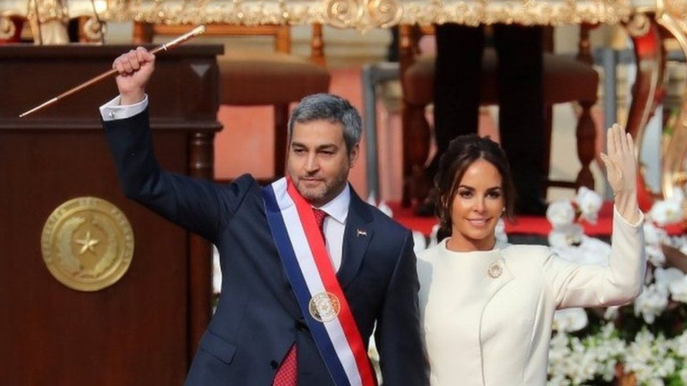 Paraguay's new President Mario Abdo Benitez waves during his inauguration on 15 August, 2018.
