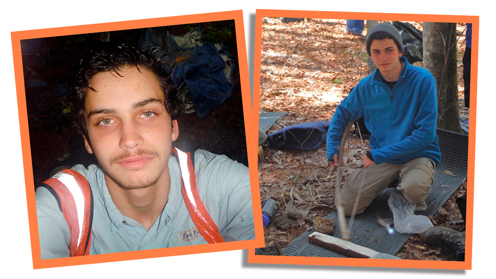 Side by side collage photographs showing Daniel in wilderness programme aged 15