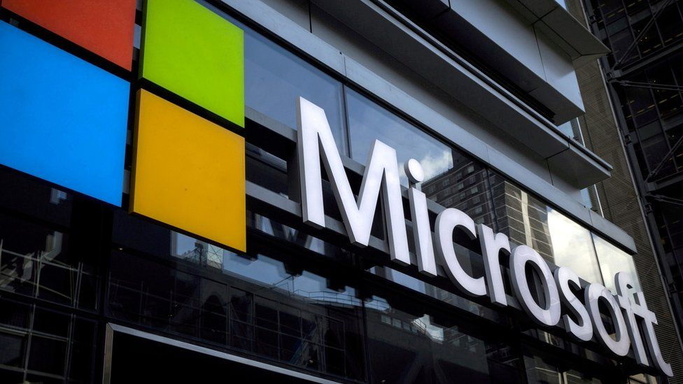 A Microsoft logo is seen on an office building in New York City, U.S. on July 28, 2015.