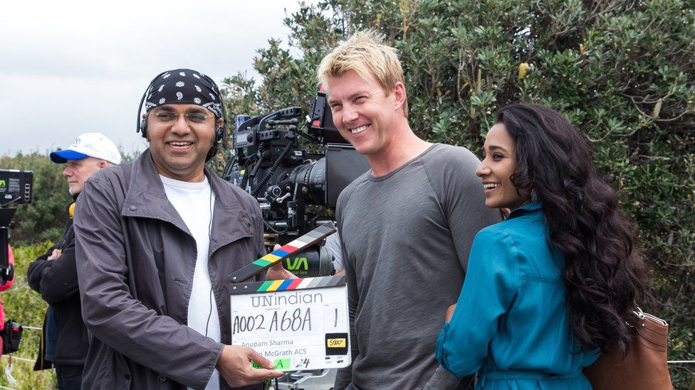UnIndian director Anupam Sharma on set with actors Brett Lee and Tanishtha Chatterjee
