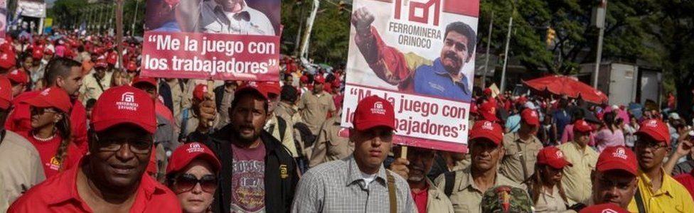 Supporters of Venezuelan President Nicolas Maduro government participate in a demonstration in Caracas, Venezuela, 1 May 2017.
