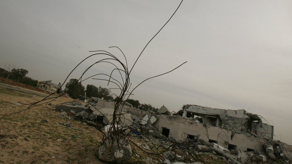Remains of the former Gaza Strip Jewish settlement of Netzarim, which was destroyed by the Israeli army before its withdrawal in 2005 (24 January 2006)