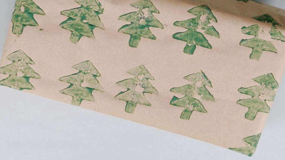 Potato print wrapping paper
