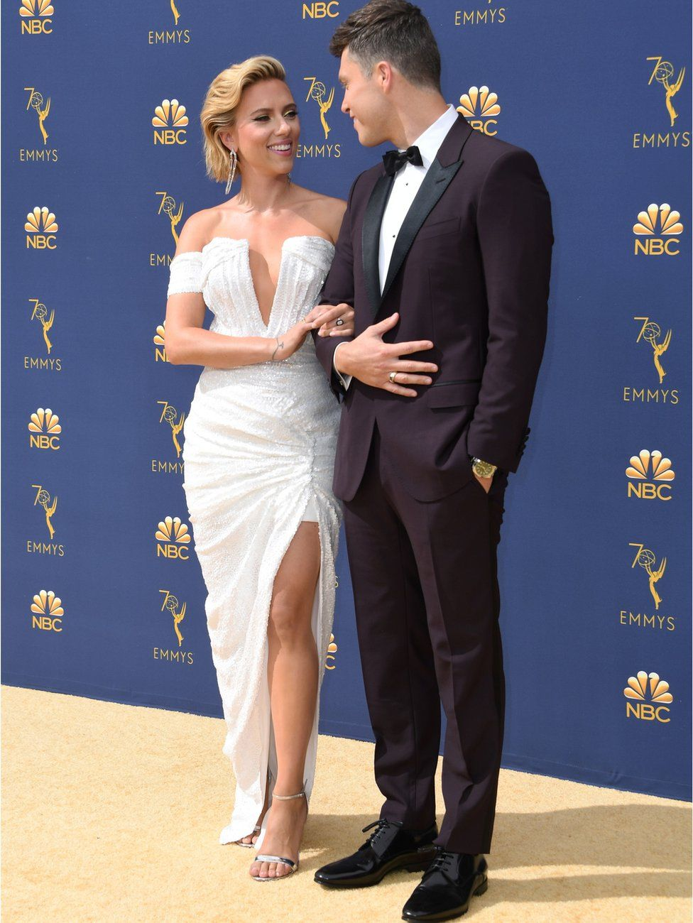 Scarlett Johansson with partner and Saturday Night Live star Colin Jost
