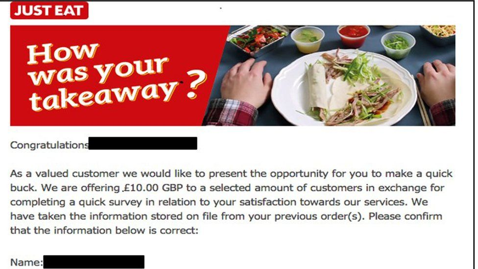 Fraudulent Just Eat email