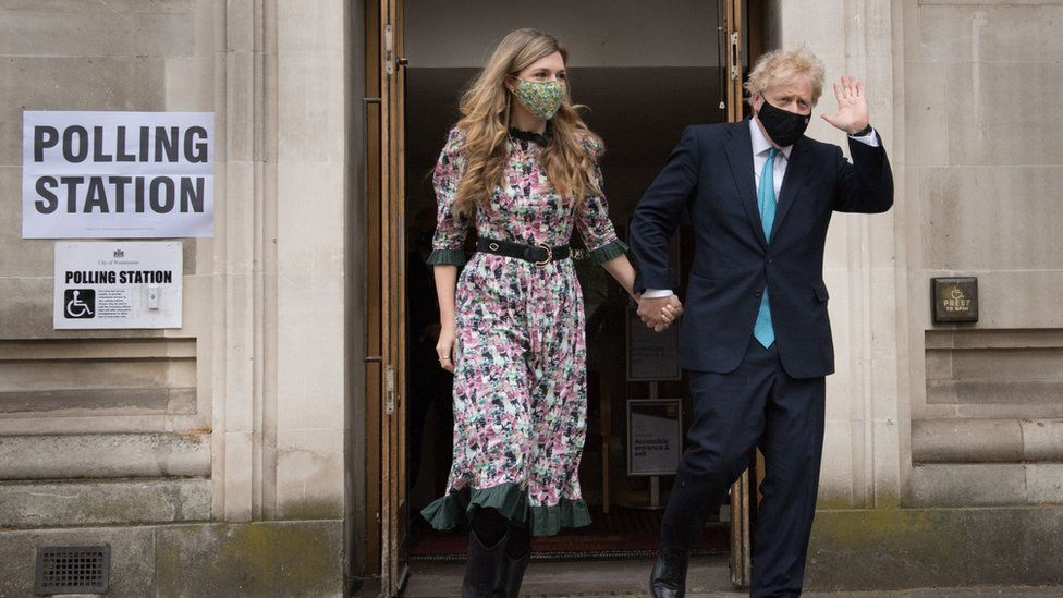 Carrie Johnson and Boris Johnson in May 2021