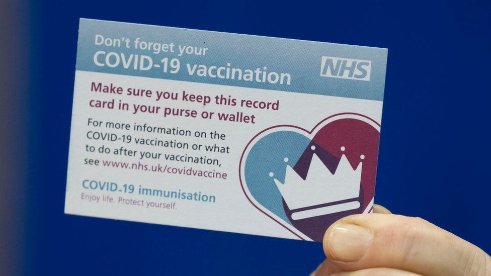 Covid immunisation record card