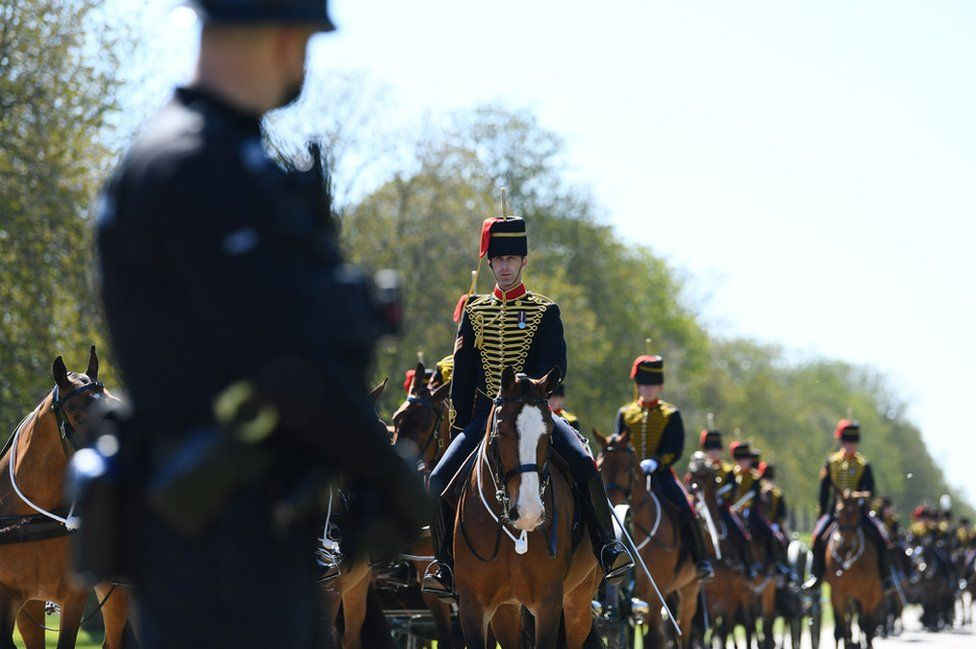 Members of The King's Troop Royal Horse Artillery arrive at Windsor Castle on the day of the funeral of Britain's Prince Philip, husband of Queen Elizabeth, who died at the age of 99, in Windsor, near London, Britain April 17, 2021