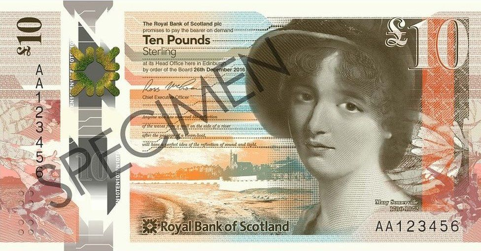 New RBS £10 note feature Mary Somerville