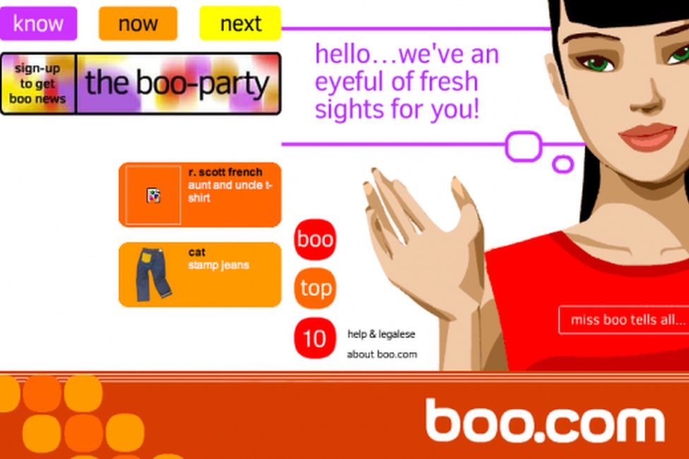 The home page of boo.com