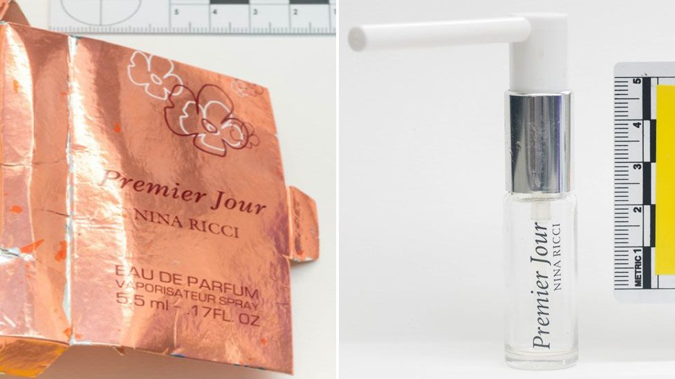 The perfume bottle recovered from Mr Rowley's home and the box it came in