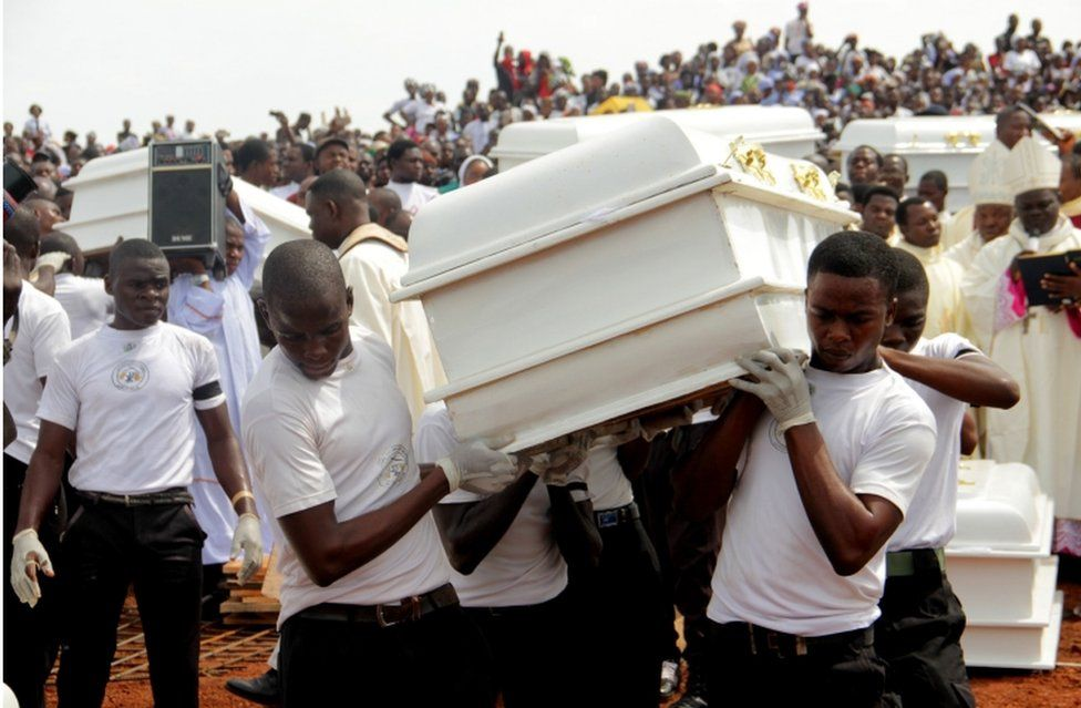 Coffins are carried during a funeral service for 17 worshippers and two priests, who were allegedly killed by Fulani herdsmen in Benue State, north-central Nigeria on May 22, 2018.