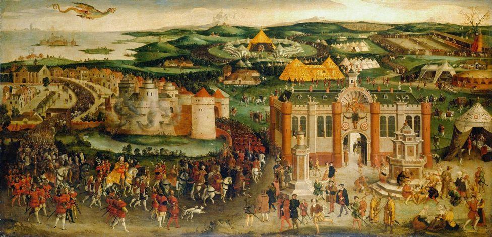 Pintura mostrando la sede de la reunión