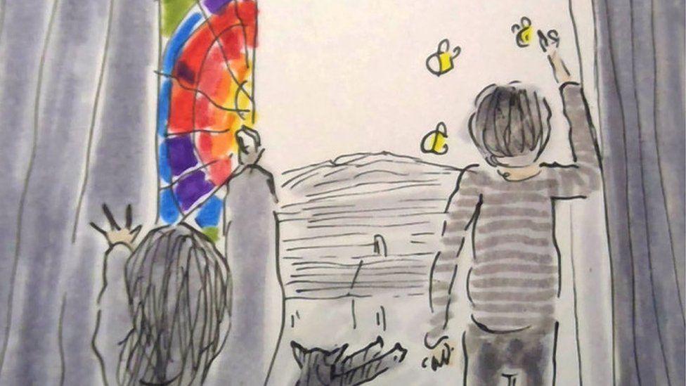 Kids painting a rainbow