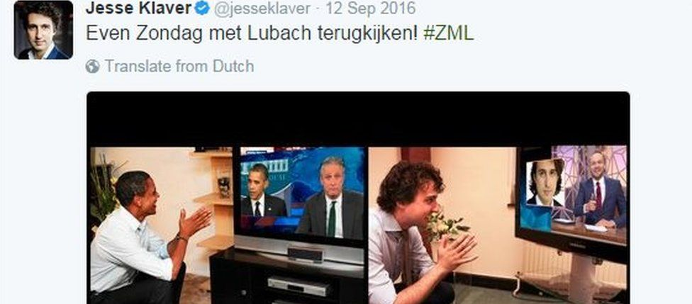 """Tweet from Jesse Klaver: """"Let's just look back at Sunday with Lubach"""""""